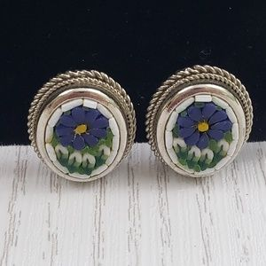 Vintage Floral Micro Mosaic Clip On Earrings Blue